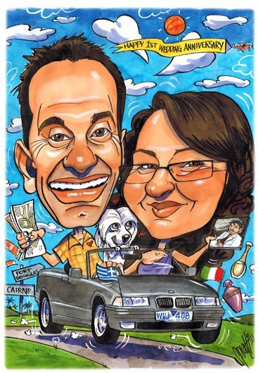 1st Wedding Anniversary Gift Caricature