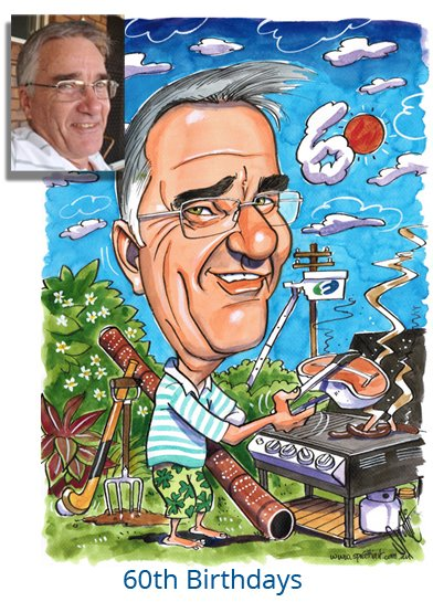 My original 60th Birthday Gift Caricatures make the perfect gift for that person that is hard to buy for. 