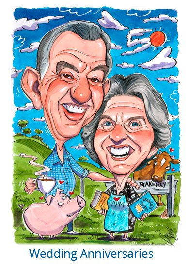 Celebrate your anniversaries in a fun unique way with one of my original caricatures. 