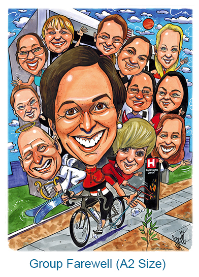 Everyone wanted to be in this large A2 caricature. We offer a range of sizes.